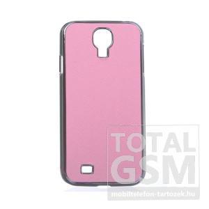 Samsung GT-I9500 Galaxy S4 rózsaszín-ezüst bőrhatású kemény hátlapi tok