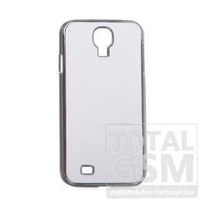 Samsung GT-I9500 Galaxy S4 fehér-ezüst bőrhatású kemény hátlapi tok