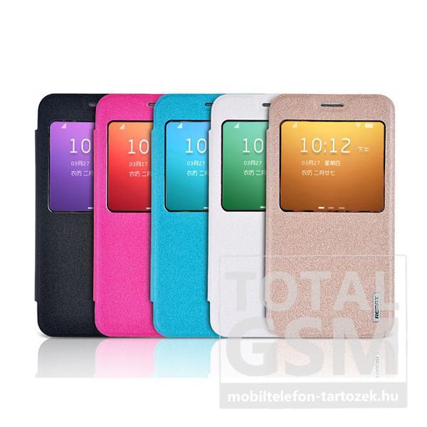 Remax bőr flip tok Samsung G900 Galaxy S5 arany
