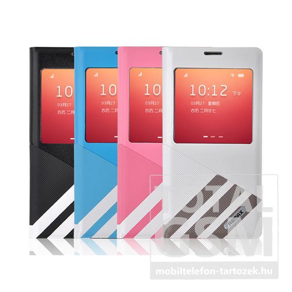 Remax bőr flip tok Samsung G900 Galaxy S5 fehér-szürke