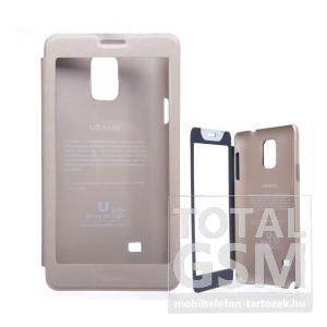 USAMS Samsung SM-N910C Galaxy Note 4 ablakos arany flip tok