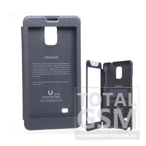 USAMS Samsung SM-N910C Galaxy Note 4 ablakos szürke flip tok