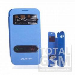 Samsung I8552 Galaxy Win kék oldalra nyíló ablakos flip tok