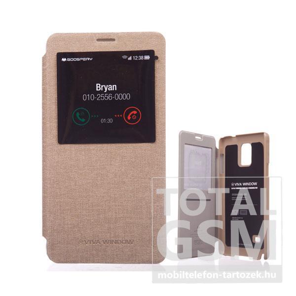 Samsung SM-N910C Galaxy Note 4 arany flip tok ablakos GOOSPERY