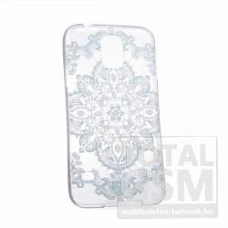 Samsung GT-I9500 GT-I9505 Galaxy S4 kék csipke mintás szilikon tok TPU 0.3mm