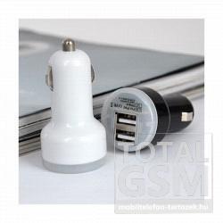 Szivargyújtós töltővég 2DB USB szimpla 2000 mAh fekete