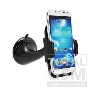 Univerzális autós tartó fekete tapadókorongos/360°-ban forgatható/állítható kar www.mobiltelefon-tartozek.hu