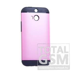 HTC One M8 SPINGEN Slim Armor fekete-rózsaszín kemény tok