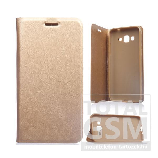 Samsung Galaxy Alpha SM-G850F arany notesz TPU-bőr flip tok