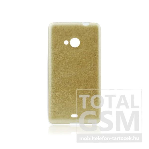 Samsung Galaxy S5 SM-G900 arany-átlátszó 0,3mm bőrhatású szilikon tok