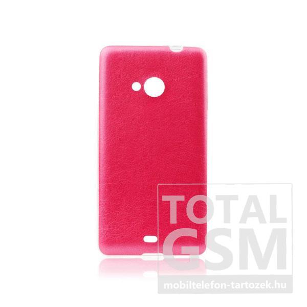 Microsoft Lumia 535 ciklámen-átlátszó 0,3mm bőrhatású szilikon tok