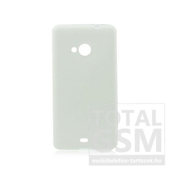 Samsung Galaxy S5 SM-G900 fehér-átlátszó 0,3mm bőrhatású szilikon tok