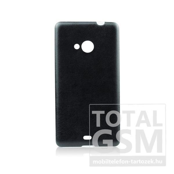 Microsoft Lumia 535 fekete-átlátszó 0,3mm bőrhatású szilikon tok