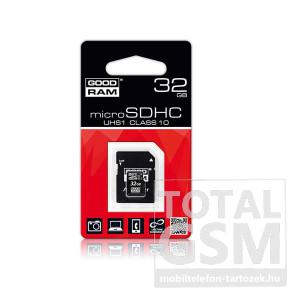Memórikártya Good Ram 32GB microSD Class 10 UHS1 adapterrel
