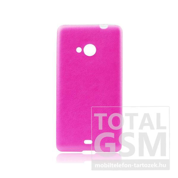 Microsoft Lumia 640 rózsaszín-átlátszó 0,3mm bőrhatású szilikon tok