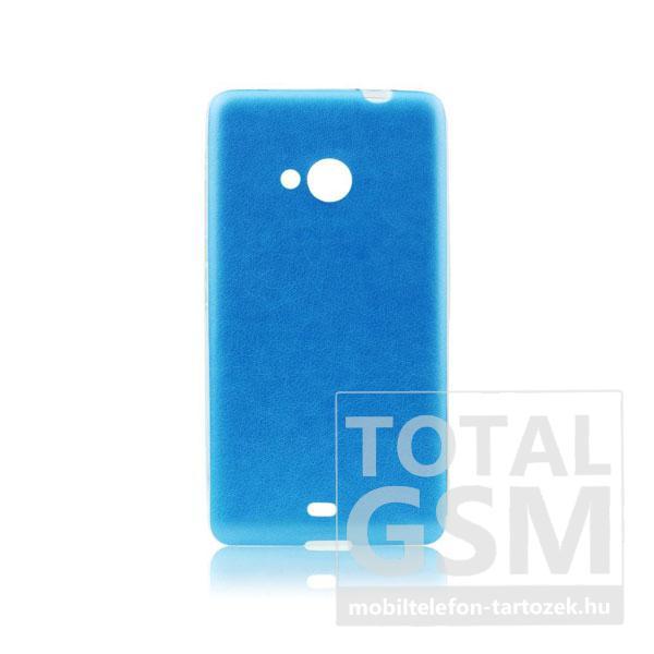 Microsoft Lumia 535 világoskék-átlátszó 0,3mm bőrhatású szilikon tok