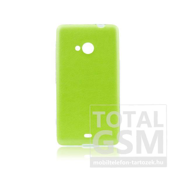 Microsoft Lumia 535 zöld-átlátszó 0,3mm bőrhatású szilikon tok