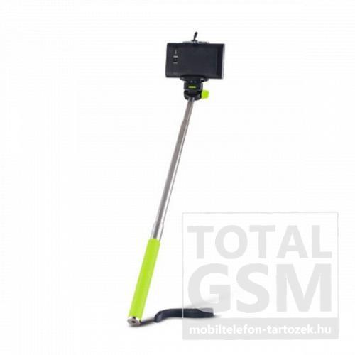 Univerzális állítható kézi selfie bot 95cm hosszú nyél / 360°-ban forgatható zöld