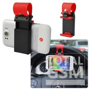 Univerzális autós tartó kormány telefontartó piros-fekete