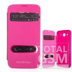 Samsung Galaxy Mega 5.8 GT-I9152 rózsaszín oldalra nyíló ablakos flip tok