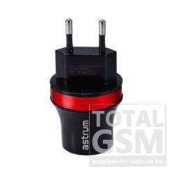 Astrum CH220 fekete-piros hálózati töltő 2.1A 2xUSB microUSB adatkábellel A92522-N