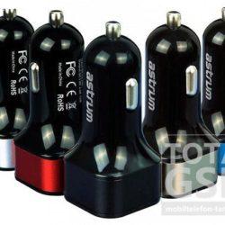 Autós töltő Astrum CC-210 USB fej 2100mAh MicroUSB adatkábellel fekete-piros