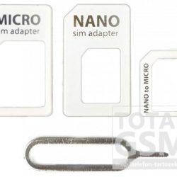 Nano- Nano Adapter- Micro Sim Adapter és Sim kártya kiszedő fehér