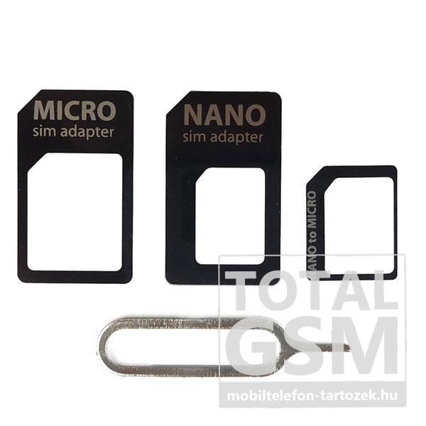 Nano- Nano Adapter- Micro Sim Adapter és Sim kártya kiszedő fekete