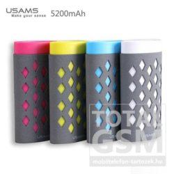 USAMS IMPRESSION Power Bank 5200mAh rózsaszín hordozható vésztöltő / power bank