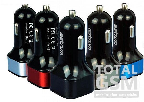 Autós töltő Astrum CC-210 fekete-kék 2.4A 2USB microUSB adatkábellel