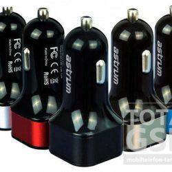 Autós töltő Astrum CC-210 fekete-piros 2.4A 2USB microUSB adatkábellel