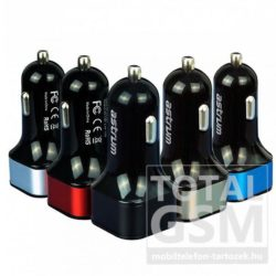 Autós töltő Astrum CC-340 fekete-ezüst 4.8A 2USB microUSB adatkábellel