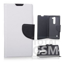 Huawei Ascend P8 Lite fehér-fekete csatos notesz TPU-bőr flip tok