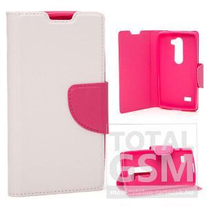 LG Leon H340N fehér-rózsaszín csatos notesz TPU-bőr flip tok