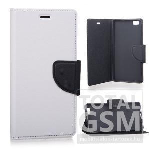 LG Leon H340N fehér-fekete csatos notesz TPU-bőr flip tok