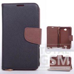 LG Leon H340N fekete-barna csatos notesz TPU-bőr flip tok
