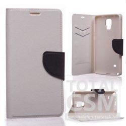 Samsung Galaxy J1 SM-J100 fehér-fekete csatos notesz TPU-bőr flip tok