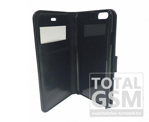 Apple iPhone 5 / 5S oldalra nyíló fekete cover flip tok