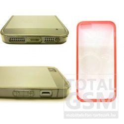 Apple iPhone 5 / 5S piros vékony szilikon tok és keret