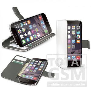 Apple iPhone 6 / 6S oldalra nyíló fehér book cover flip tok