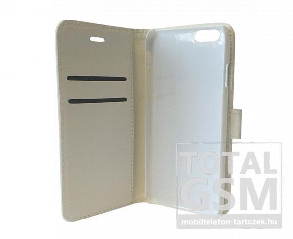 Apple iPhone 6 / 6S oldalra nyíló fehér cover flip tok