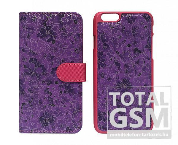 Apple iPhone 6 / 6S oldalra nyíló lila cover flip tok