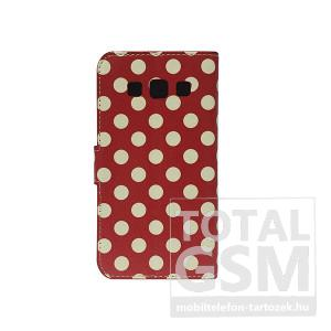 Samsung Galaxy Ace 4 SM-G357FZ oldalra nyíló piros pöttyös flip tok