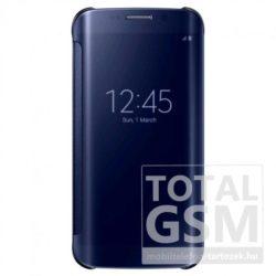 Samsung Galaxy S6 Edge SM-G925 oldalra nyíló fekete áttetsző book cover flip tok