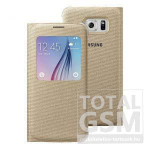 Samsung Galaxy S6 SM-G920 oldalra nyíló arany ablakos cover szövet flip tok