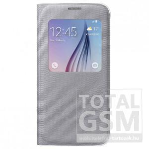 Samsung Galaxy S6 SM-G920 oldalra nyíló ezüst ablakos cover szövet flip tok