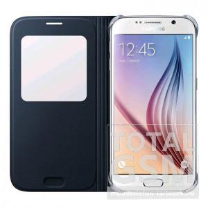 Samsung Galaxy S6 SM-G920 oldalra nyíló fekete ablakos cover szövet flip tok
