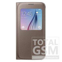 Samsung Galaxy S6 SM-G920 oldalra nyíló gyári arany ablakos cover bőr flip tok