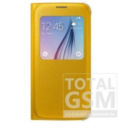 Samsung Galaxy S6 SM-G920 oldalra nyíló gyári citromsárga ablakos cover bőr flip tok