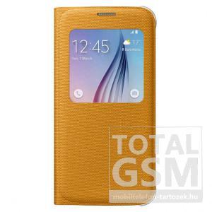 Samsung Galaxy S6 SM-G920 oldalra nyíló gyári sárga ablakos cover szövet flip tok